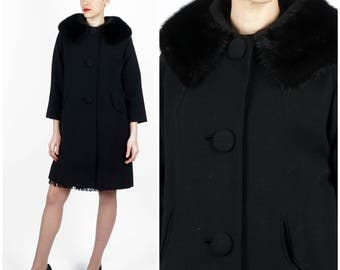Beautiful Vintage 1960's Black Wool Swing Jacket w/ Mink Collar and Round Pocket Slits by Oppenheim Collins | Small/Medium