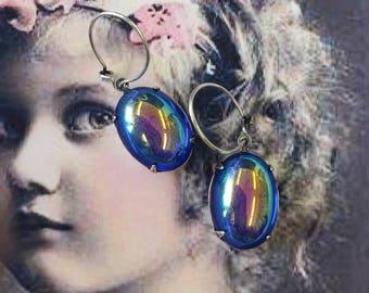 Vintage Czech Glass Sapphire Aurora Borealis 13x18 Cabochon Earring Kit Options 2190SOX x2