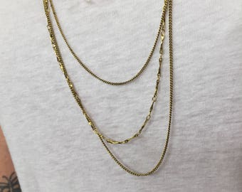 Vintage 3 Strand Gold Plate Chain Necklace 9018VIN x1