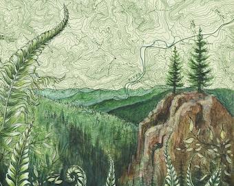 Tillamook Forest art, Elk Mountain Kings Mountain Oregon painting print Mountain illustration, Oregon mountain print, mountain art map art