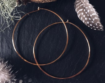 Big Brass Hoops Hammered- Large Hoops- Brass Statement Earrings Gold