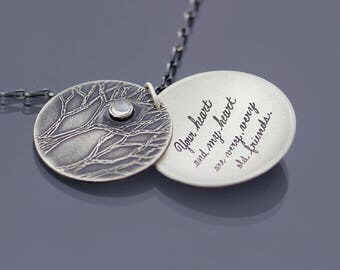 Heart of the Forest Necklace, Sterling Silver Moonstone Necklace, Handwritten Hafiz Quote Your heart and my heart are very, very old friends