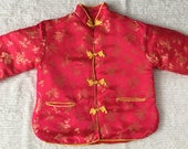 SALE - Vintage Chinese Satin *Sz 2T* Red Quilted Brocade Toddler Jacket