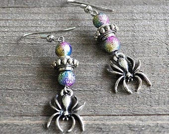 ON SALE Silver Spider Earrings Gothic Spider Jewelry Spider Charms With Rainbow Stardust Beads Cosplay Spiderman or Spidergirl Earrings