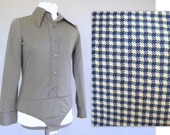 Blue Checked Bodysuit, Vintage 1970's Stretch Polyester Blouse, Fits Size 6, Small