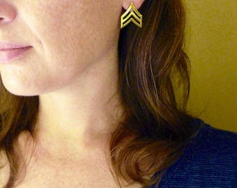 Gold Chevron Earrings. Gold Geometric Post Studs. Raw Brass and Sterling Silver. Corporal Earrings. Gold Chevron Studs.