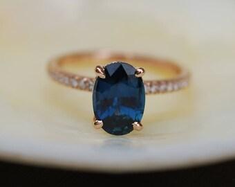 Blake Lively Ring Navy Blue sapphire ring 14k rose gold diamond ring 2.22ct navy blue sapphire ring by Eidelprecious
