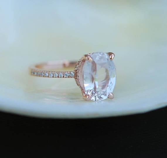 Blake Lively ring White Sapphire Engagement Ring oval cut 14k rose gold diamond ring 3.9ct White sapphire ring