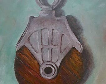 Canvas print of an original acrylic painting. Industrial primitive barn pulley. Pulley #3