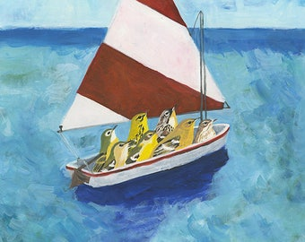 Out to sea. Limited edition print by Vivienne Strauss.