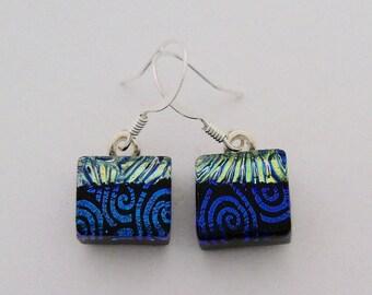 Tiny  dichroic glass earrings.