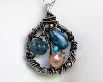 Gemstone Swirls of Silver and Gemstones