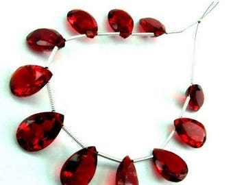 50% Off Sale 10 Pcs 5 Matched Pair - AAA Red Quartz Faceted Cut Stone Pear Briolettes Size 14x10mm Approx