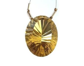 50% Off Sale High Quality AAA Lemon Quartz Green Gold Concave Cut Oval Shaped Cut Stone Briolette Huge 25x20mm approx