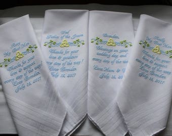 Set of 4 Men's Personalized Wedding Handkerchiefs, father of the bride, groom hankys, father of the groom, best man gift, embroidered hankie