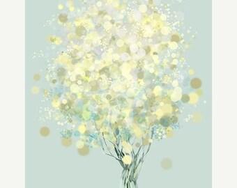 50% Off Summer Sale - Lemon Bubble Tree - 12x18 Print