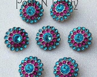 20% OFF EXP 06/30 5 PIECES Gem Elegant Button 24mm - Turquoise/Hotpink