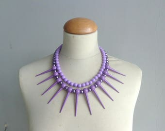 Purple Spikes necklace, Tribal statement necklace, colorful necklace,  purple necklace, multi strand necklace