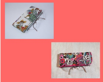 Padded Protective Pouch for Glasses Floral Catrina or Skeleton Party Eyeglass Case Your Choice of One