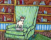 SALE 20% off all items Rat terrier reading in a Study Dog Art Tile
