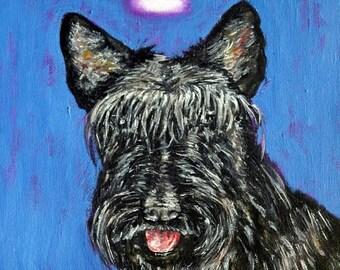 20 % off storewide scottish terrier angel dog art print on Tile coaster gift  modern folk pop art JSCHMETZ