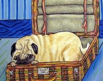 20 % off storewide Pug tile, ceramic coaster , pug art - dog art - dog tile - modern folk  - dog - print on tile