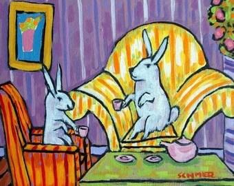 20% off storewide Bunny Rabbits Having Tea Animal Art Tile Coaster Gift