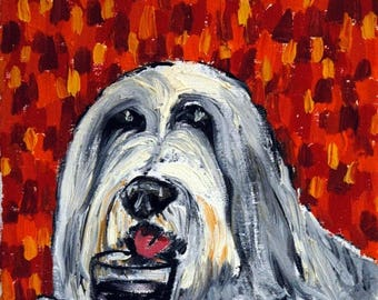 20% off Bearded Collie at the Wine Bar picture Dog Art Print giclee gift