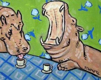 20% off Hippo at the Coffee Shop Hippopotamus Art Tile coaster gift JSCHMETZ abstract MODERN pop folk art