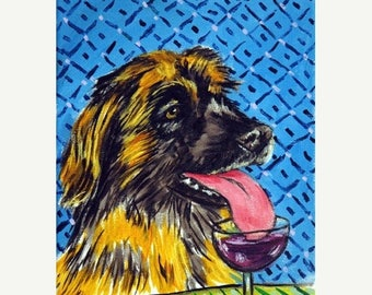 Leonberger at the Wine Bar Dog Art Print     JSCHMETZ modern abstract folk pop art AMERICAN ART gift