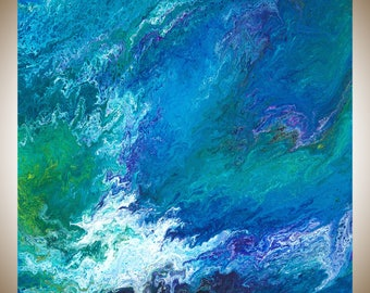 """Turquoise Blue green purple Abstract painting contemporary art original art wall art canvas art square art """"water fall"""" by qiqigallery"""