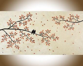 Copper Art Wall Home Decor Large Original Love Birds Acrylic Painting
