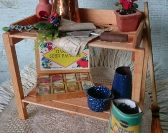 Dollhouse miniature garden potting table 1:12 scale
