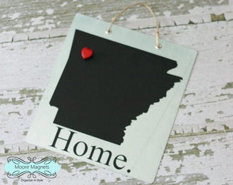 Arkansas Home Sign Magnet board with Chalkboard State and Red Heart Magnet