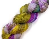 Hand Dyed Yarn Euro Fingering Yarn 820 yards Superwash Merino - Wild Pansies