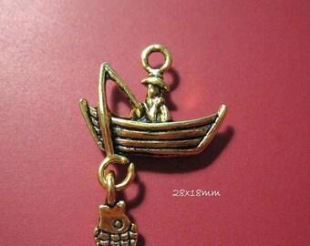 50% Off 8 Fisherman Charms, Antique Gold Fishing Charm, Fishing Boat Charm 28x18mm, C1190 H17