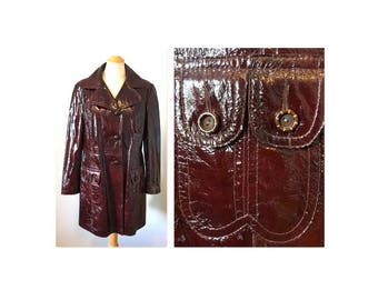 Vintage 60s Mod Patent Leather Jacket Coat L Wet Look in a dark reddish brown