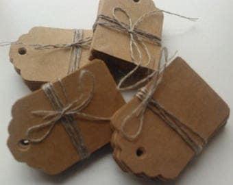 CLOSING DOWN SALE 50 medium plain kraft brown card price hang gift tags