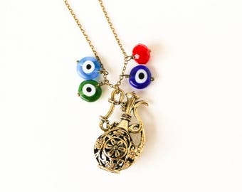 HALF PRICE SALE Genie bottle and evil eye necklace