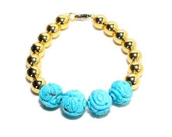 Boho carved blue stone and golden beaded stackable bracelet