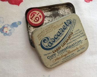 Vintage Tiny Cascarets Candy Cathartis Constipation Tin
