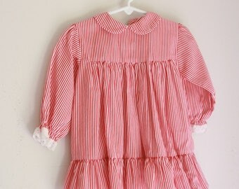 Vintage girl's dress red and white striped 24 months