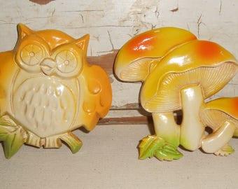 Vintage Plastic Owl and Mushroom Wall Hangings
