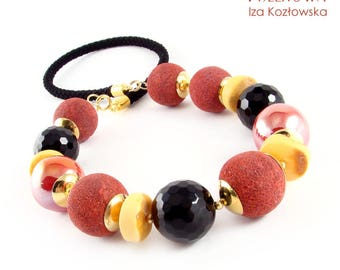 Coryx II - vermeil necklace with onyx, coral, amber and ceramic