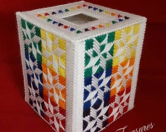 Quilt Star Tissue Box Cover Plastic Canvas