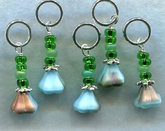 SALE Flower Stitch Markers Aqua Bell Flower Posey Stitch Markers set of 5 /SM30
