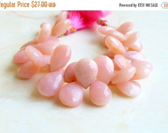 Deep Discount Sale Pink Opal Gemstone Briolette Faceted Pear Tear Drop 13.5 to 14.5mm 9 beads
