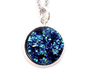 """Deep Blue Faux Druzy Necklace 18"""" Stainless Steel Chain"""