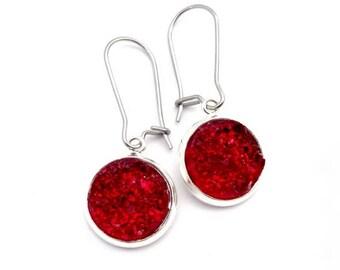 Real Red Faux Druzy Earrings Stainless Steel Kidney Earwires