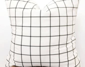 "Extra soft designer white with black grid pillow cover / 22"" / modern / boho / farmhouse"